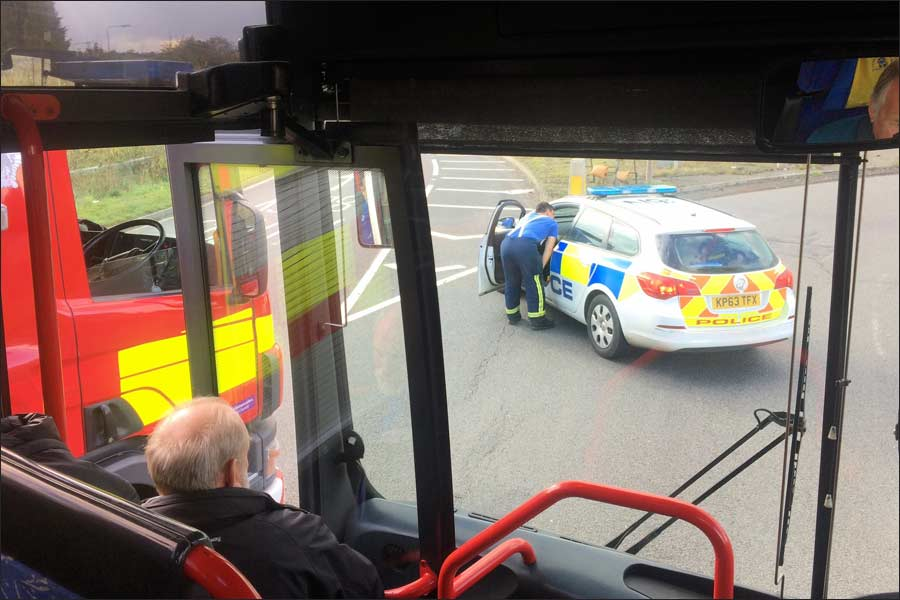 Everyone had to stay on board until the services had closed the roundabout