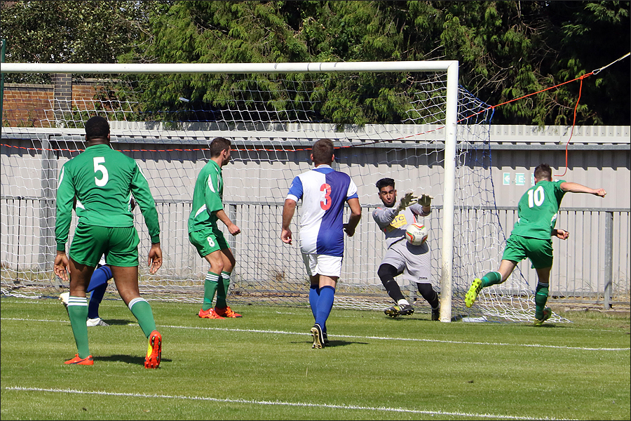 Super first half save from the Burnham keeper to keep it 0-0