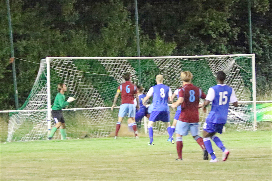 Welwyn clear off the line with their keeper beaten