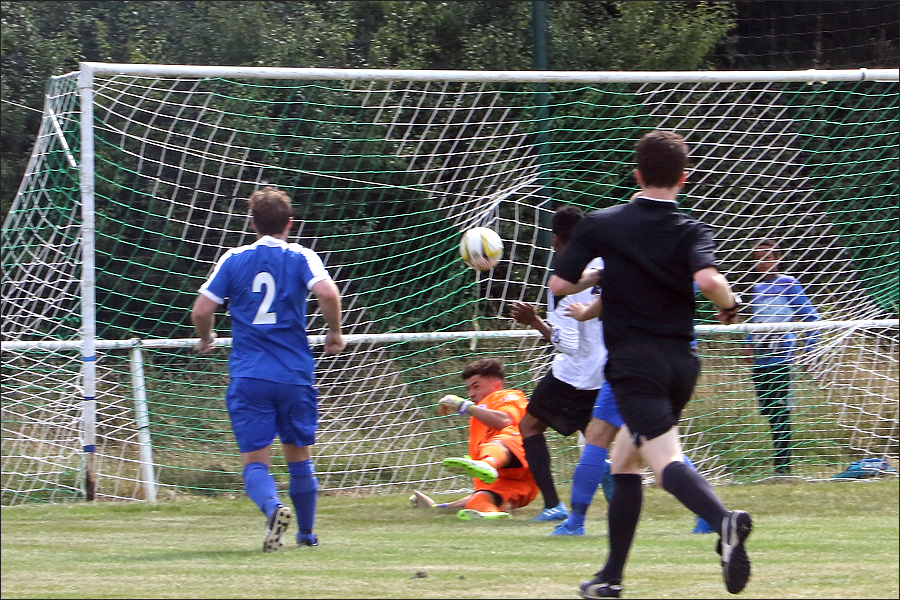 Colney take an early lead when Trey Charles bundles in from close range