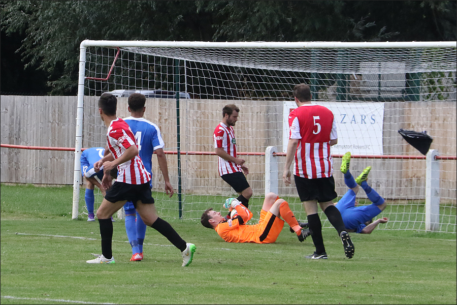 Kempston's keeper gratefully clutches the ball in the final minute