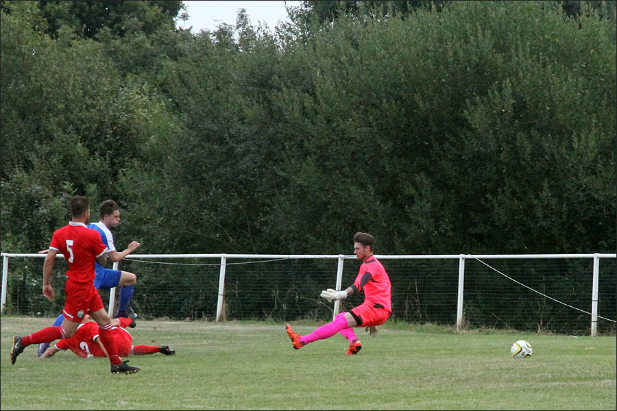 So Close as Luke Wells beat the keeper but his shot goes narrowly wide