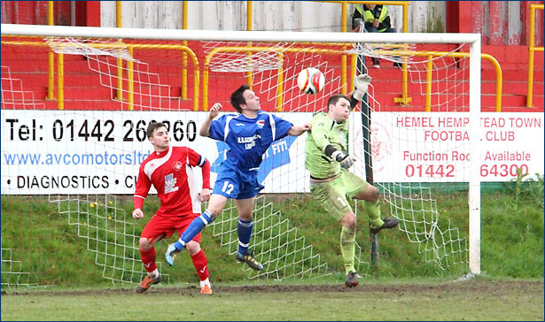 Chris Killer puts pressure on the Hemel keeper