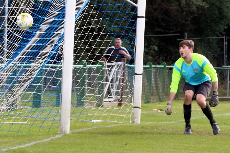 The Greenford keeper can only watch as the Jets winner goes in