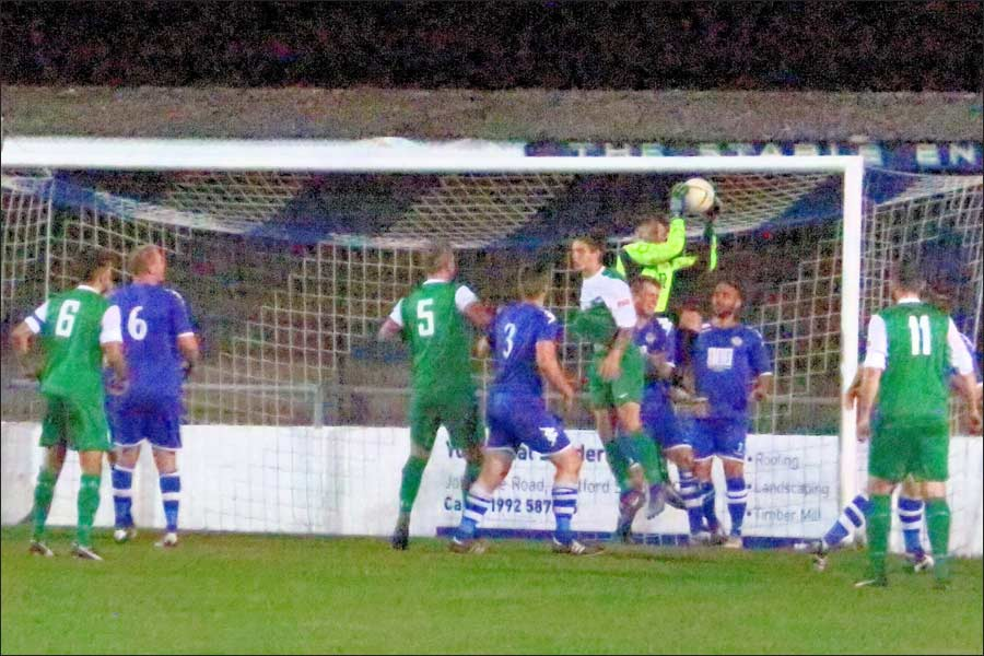 The Hertford keeper denies Jets on the line