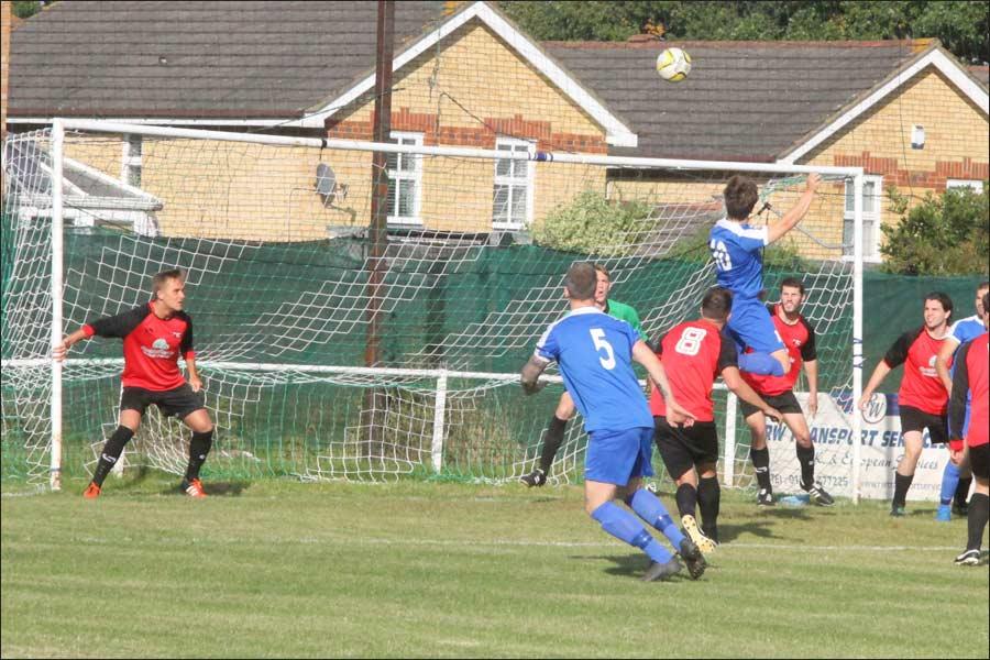 Luke Wells' header hits the crossbar
