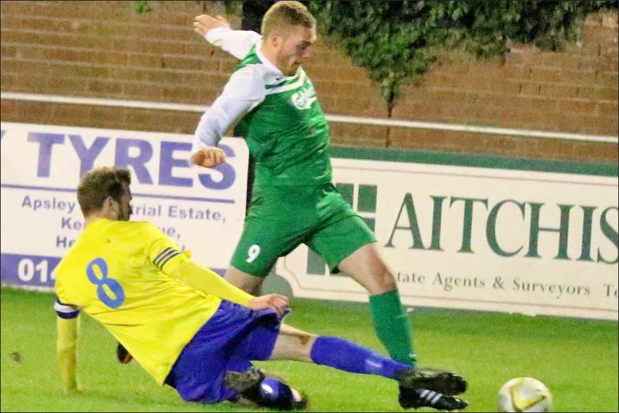Oliver Cole bursts through and forces the penalty