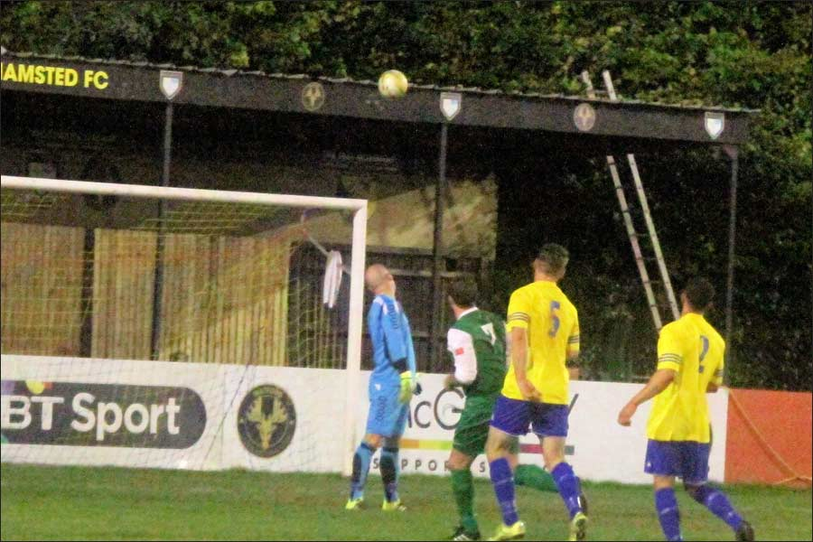 The Berko keeper can only watch as Luke Lloyds lob heads for the net. 2-0 to Jets