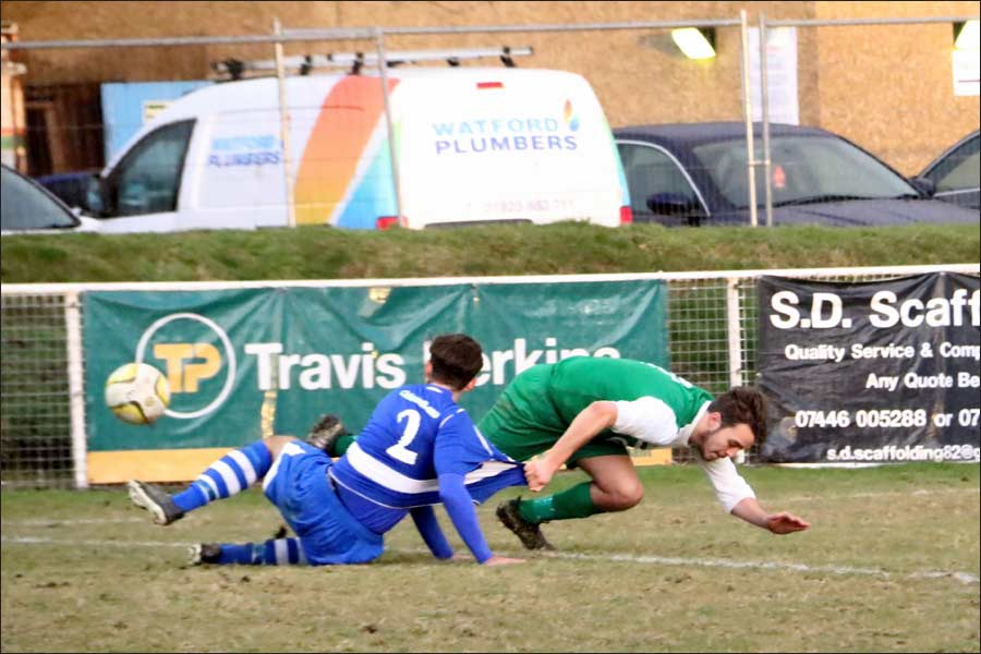 Luke Jones brought down for a free-kick - BUT IT WAS IN THE BOX!