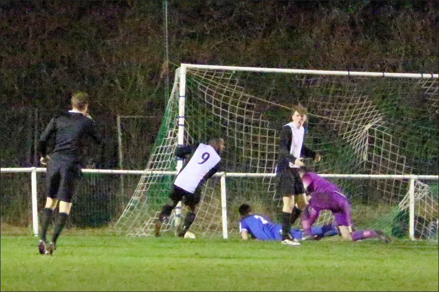 Ball in the net for Berko before official blows, then the 'chosen' decision is a penalty and red card