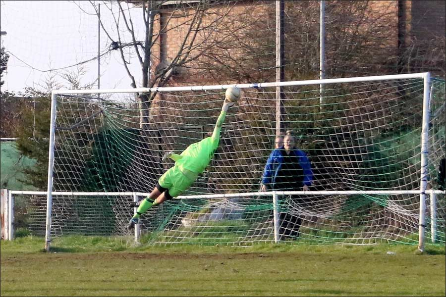A brilliant save from the Stotfold keeper denies Jets
