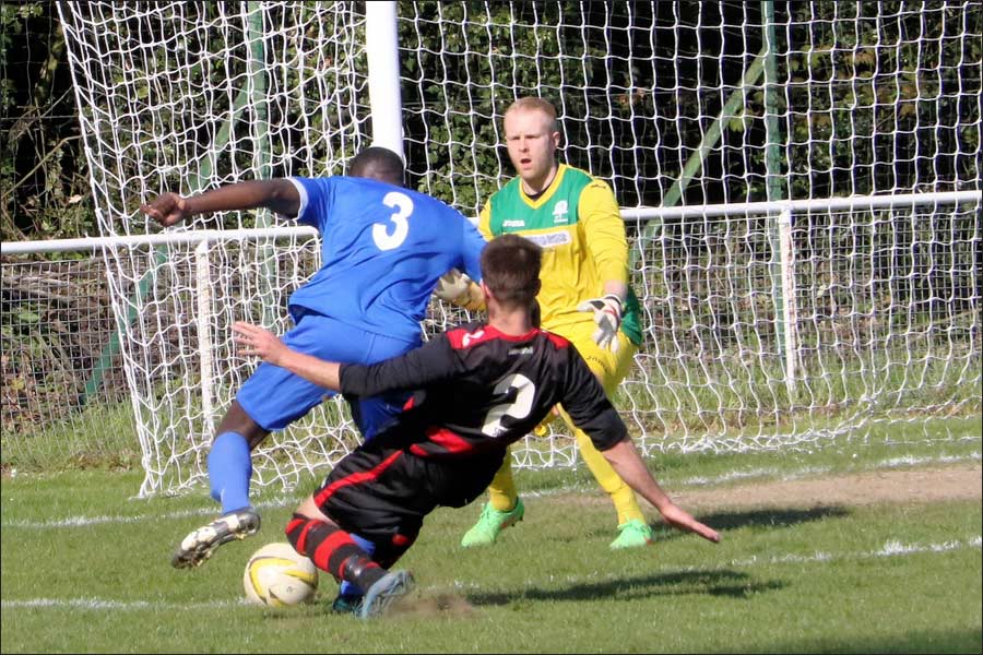 Andy Amoah brought down from behind