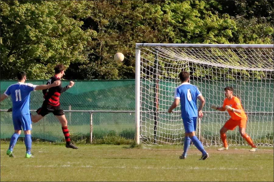 Rob Partington made a great save from this goal bound header