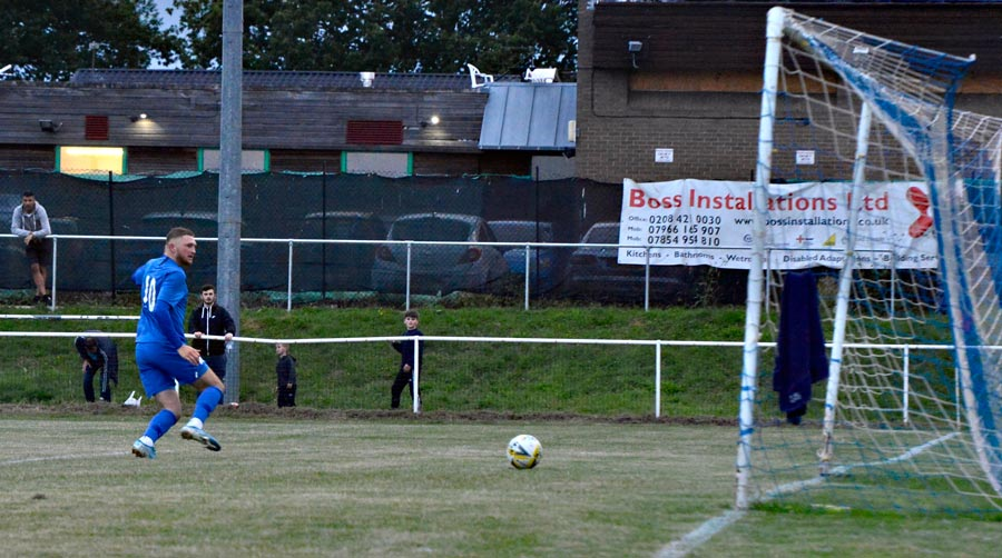 Louis Stead breaks through the Tring defence and slots Jets into the lead.